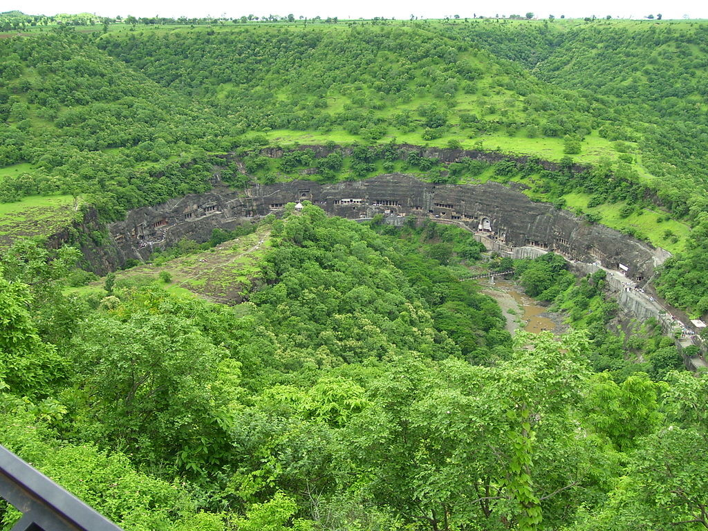 Panoramic view of Ajanta Caves from the nearby hill
