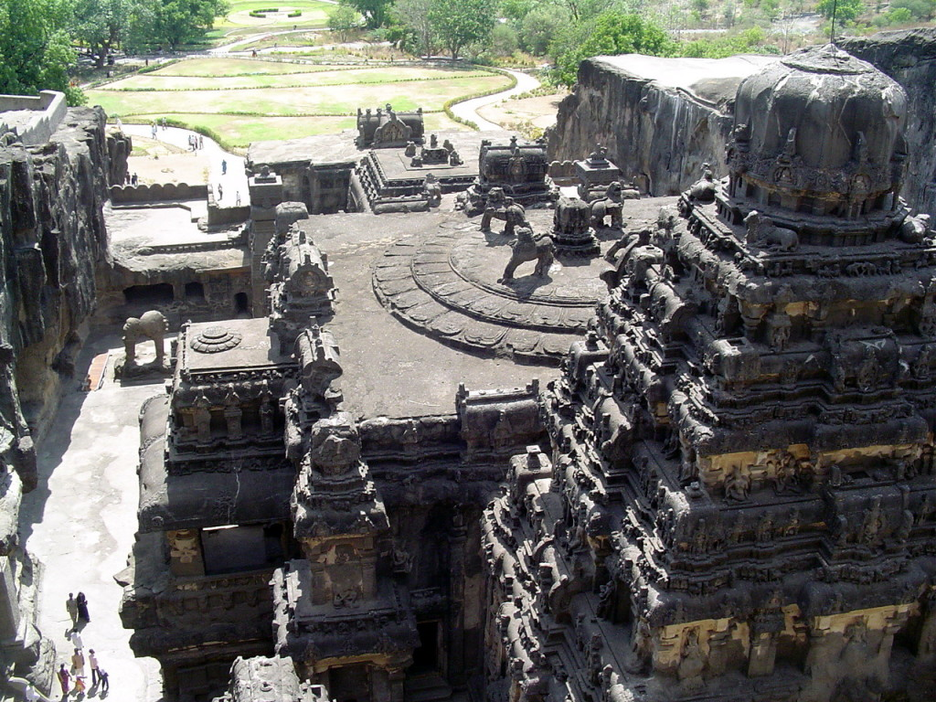 Kailasanatha Temple, (Cave 16) view from the top of the rock