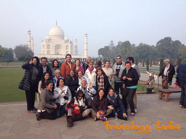 Guests of Travelogy India visiting Taj Mahal