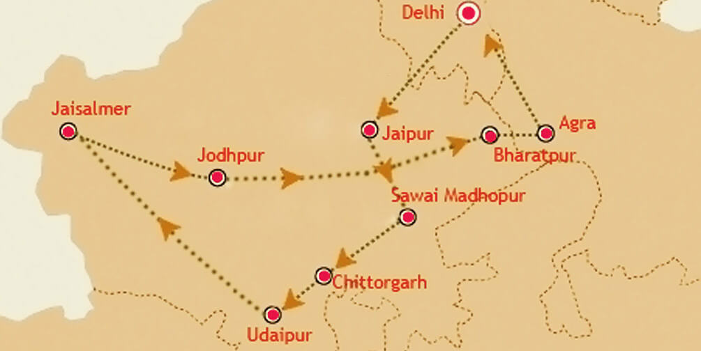 Palace on Wheels Route Map