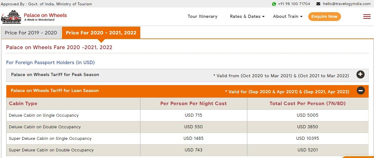 Palace on Wheels Fare for Lean Season in USD (Sep 2020, Apr 2021) & (Sep 2021, Apr 2022)