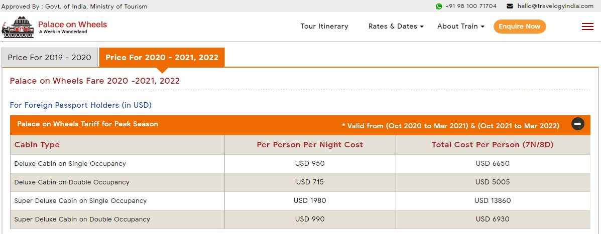Palace on Wheels Fare for Peak Season in USD (Oct 2020 to Mar 2021) & (Oct 2021 to Mar 2022)