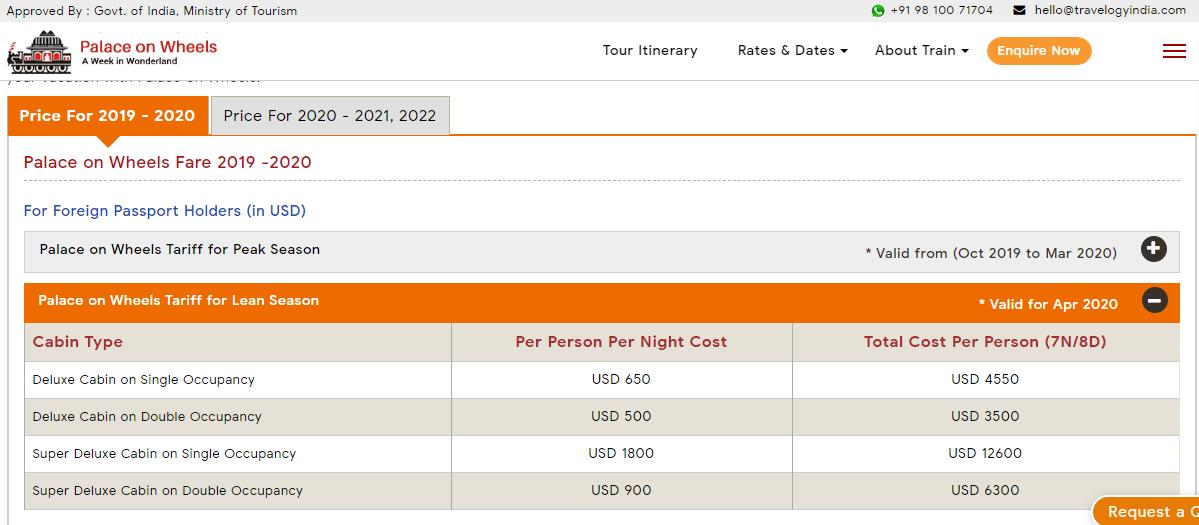 Palace on Wheels Fare for Lean Season in USD (Apr 2020)