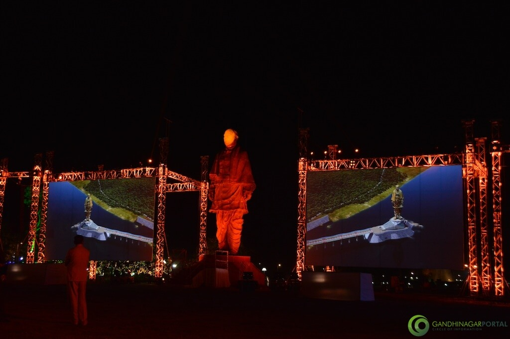 Statue of Unity Laser Light Show in Evening