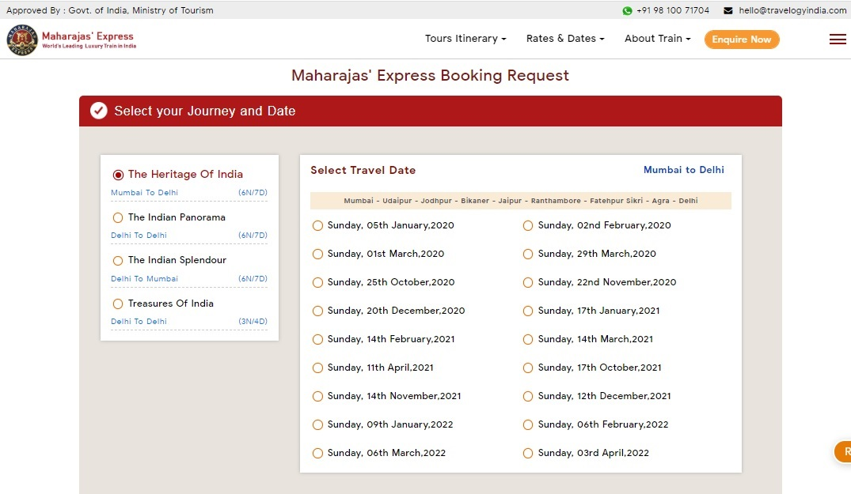 Maharaja Express Train Booking Step 1