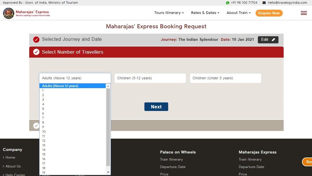 Maharaja Express Train Booking Step 4