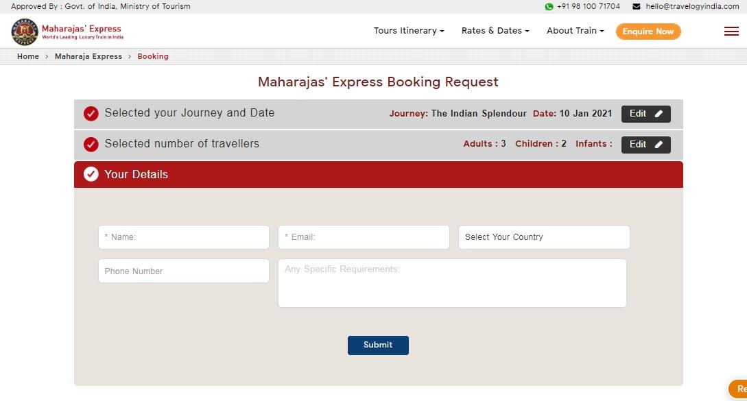 Maharaja Express Train Booking Step 5