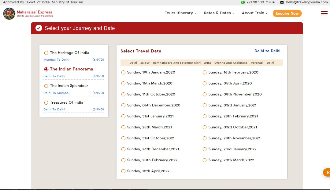 Maharajas Express Booking Step 2
