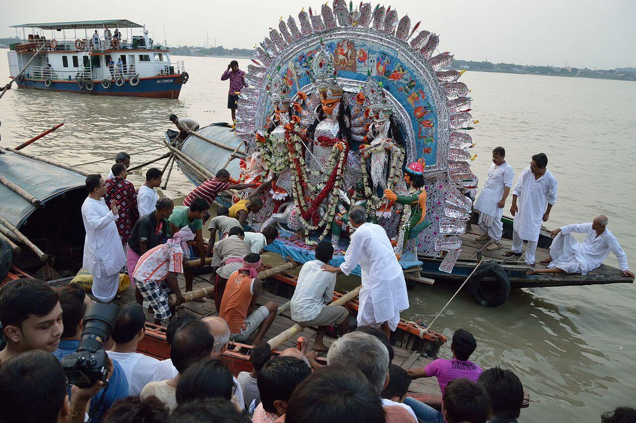 Maa Durga Idol Immersion into Hooghly River