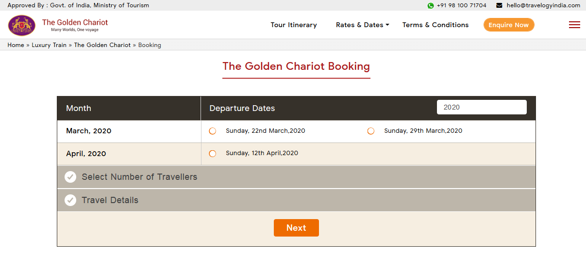 Visit Golden Chariot Booking Page